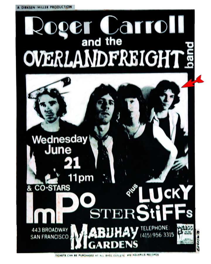 Poster with artists and musician  Beny Tchaicovsky with the Rock Band Overland Freight.